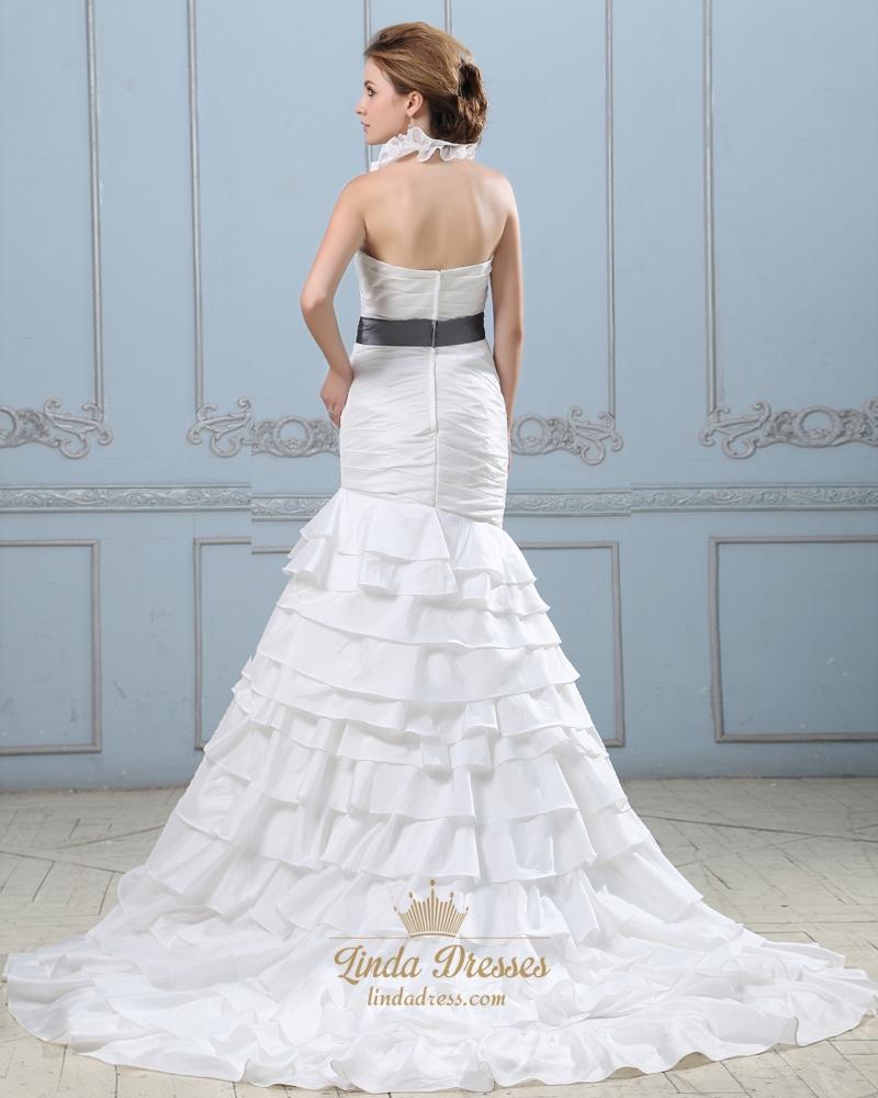 Ivory mermaid ruffle collar wedding dress with beaded for Ruffled mermaid wedding dress