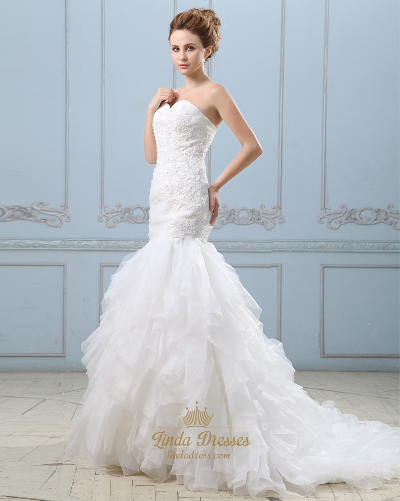 Ivory strapless sweetheart mermaid wedding dress with for Mermaid wedding dress with ruffles
