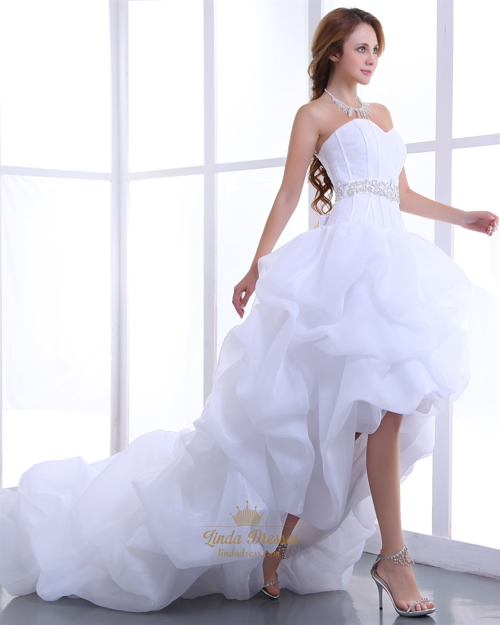3efb5b0ac0f8b White Sweetheart Organza Wedding Dress Short In Front With Long Train