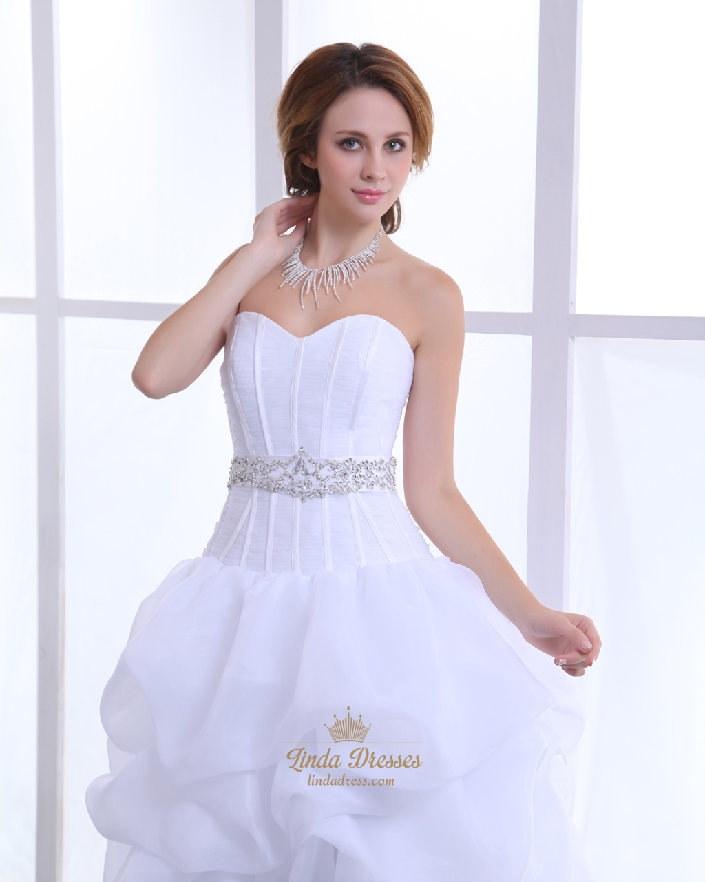 White sweetheart organza wedding dress short in front with for Short wedding dress with long train