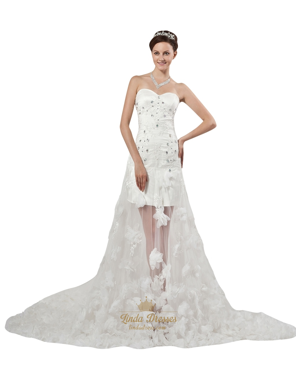 Ivory strapless beaded applique wedding dresses with for Applique for wedding dress