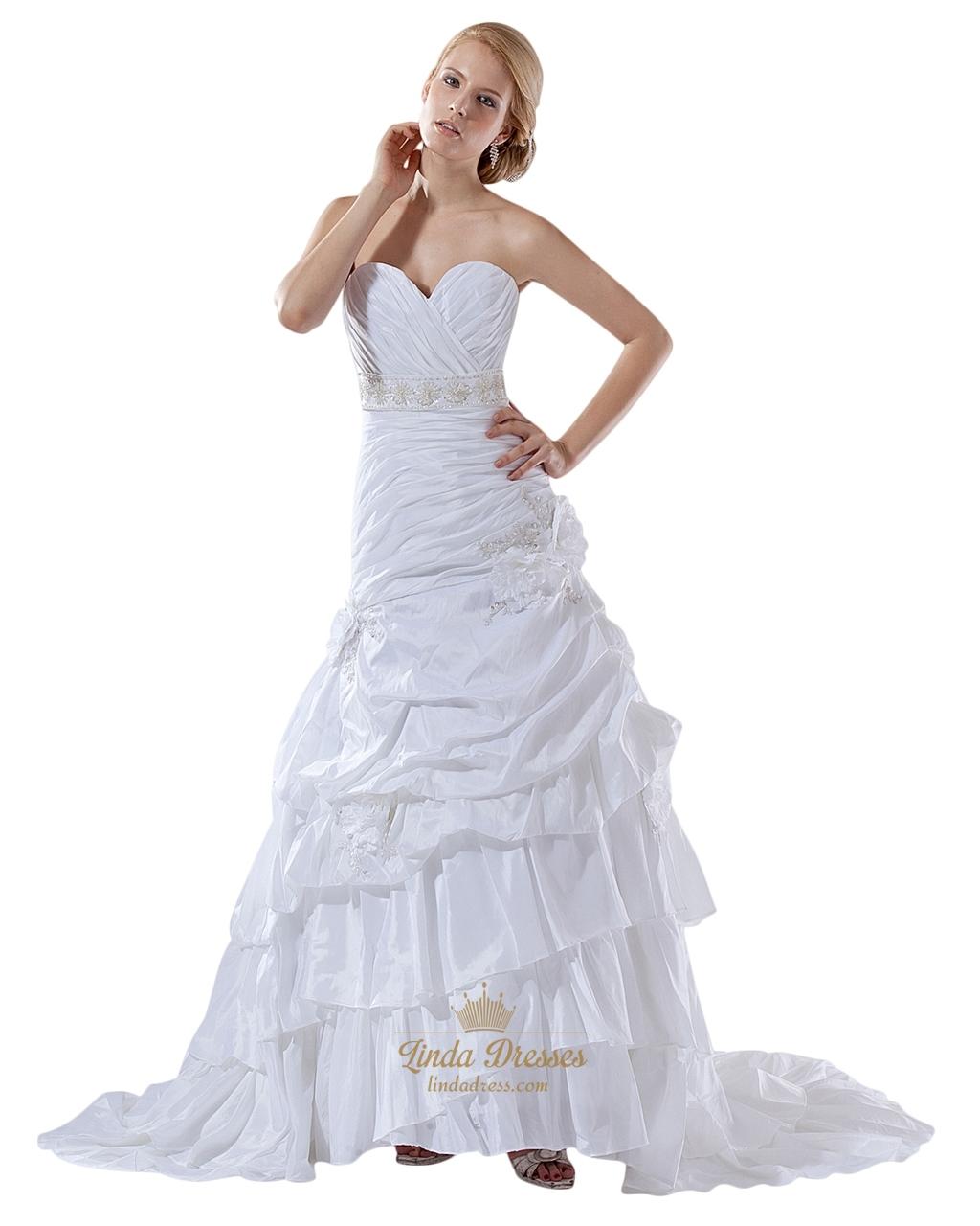 White taffeta layered skirt mermaid wedding gown with for Taffeta mermaid wedding dress