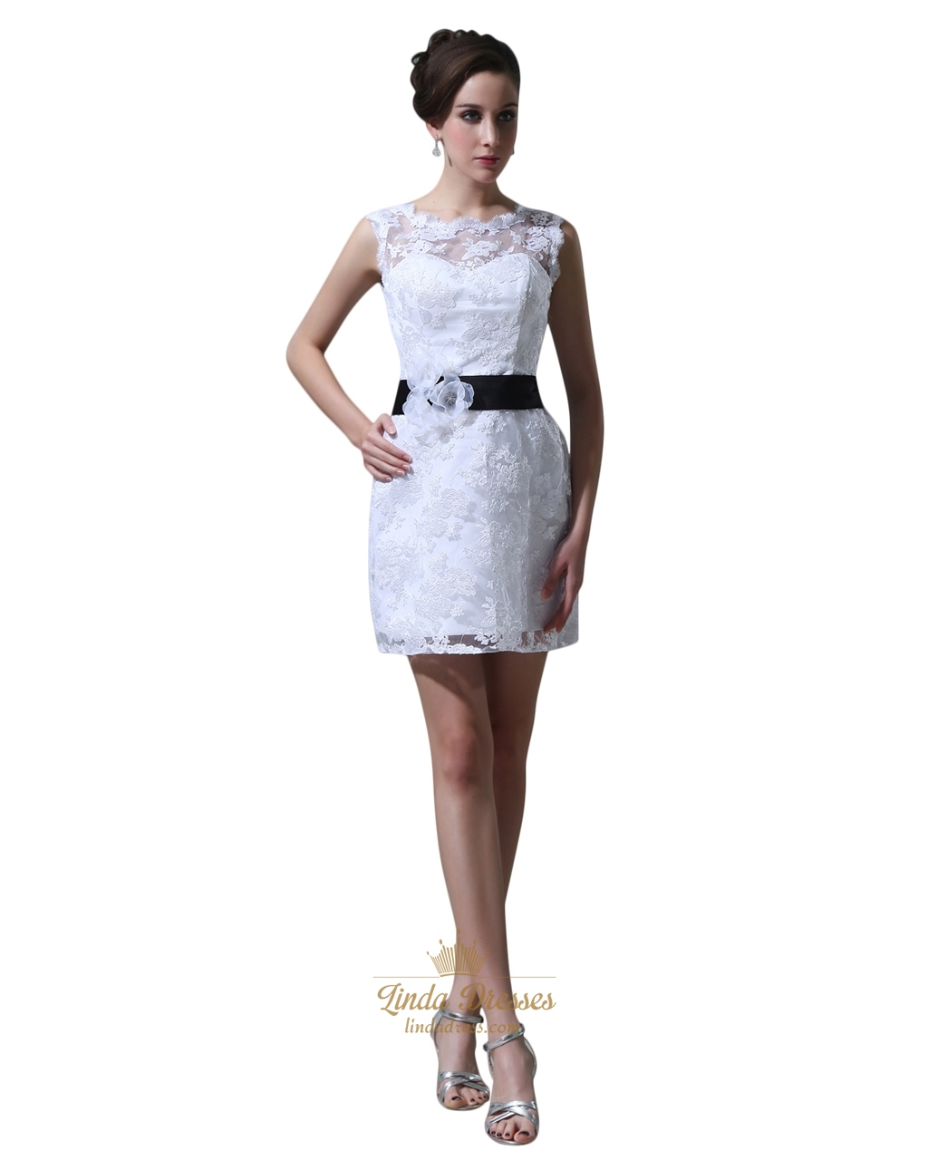 Short White Lace Sheath Illusion Neckline Wedding Dress With Black