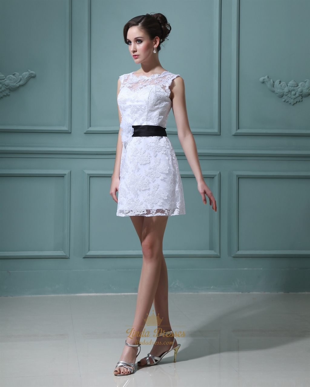 Short White Lace Sheath Illusion Neckline Wedding Dress With Black ...