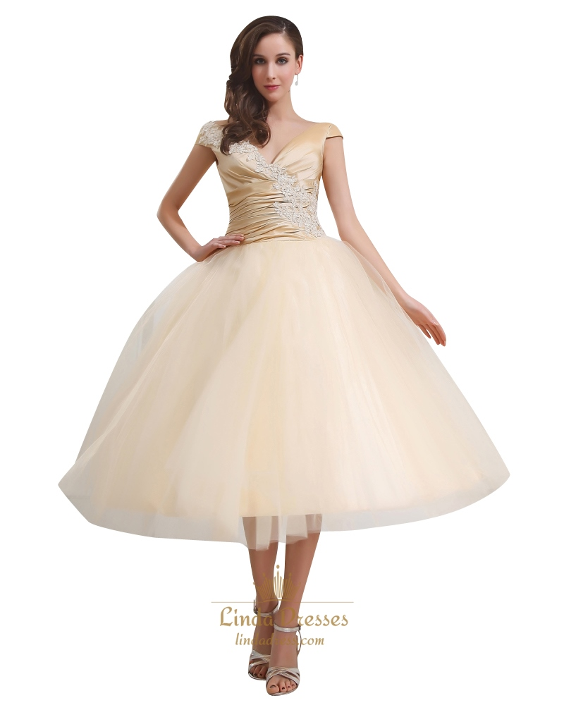 Gold V Neck Tulle Tea Length Ball Gown Wedding Dress Cap Sleeves ...