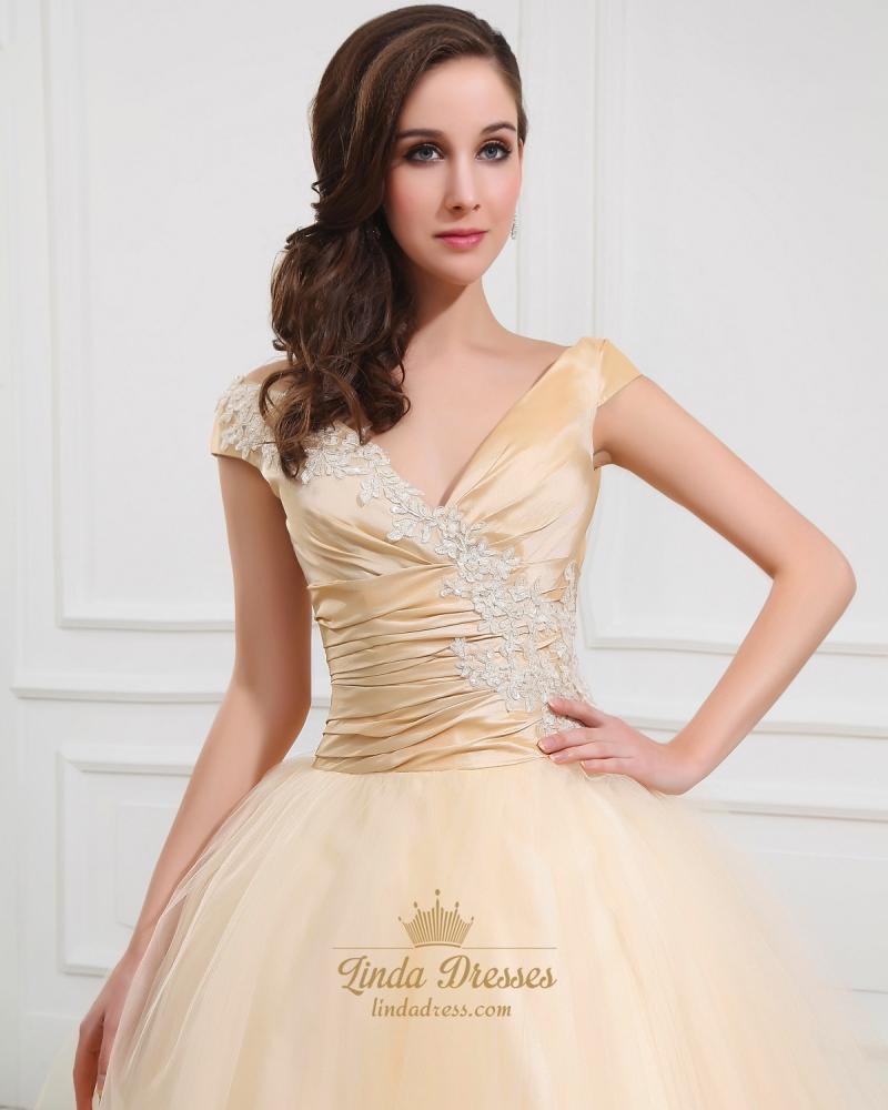 Gold v neck tulle tea length ball gown wedding dress cap for V neck tea length wedding dress