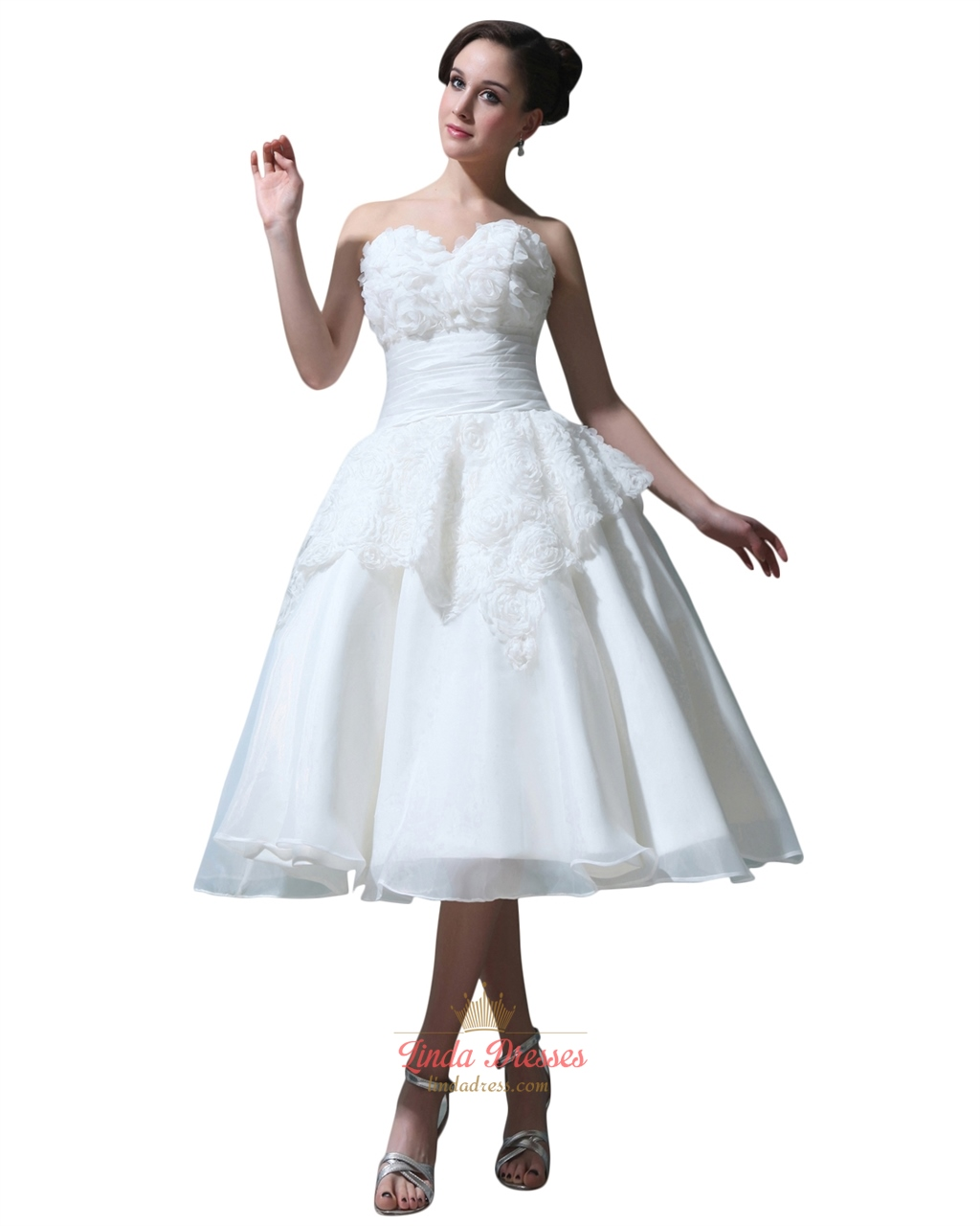 Ivory Tea Length Ball Gown Organza Wedding Dress With Rosettes On ...