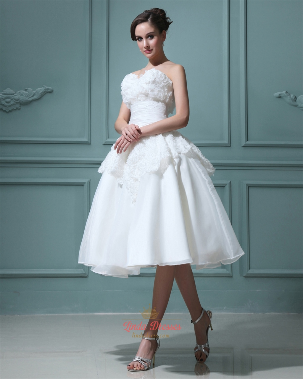 Ivory Tea Length Ball Gown Organza Wedding Dress With