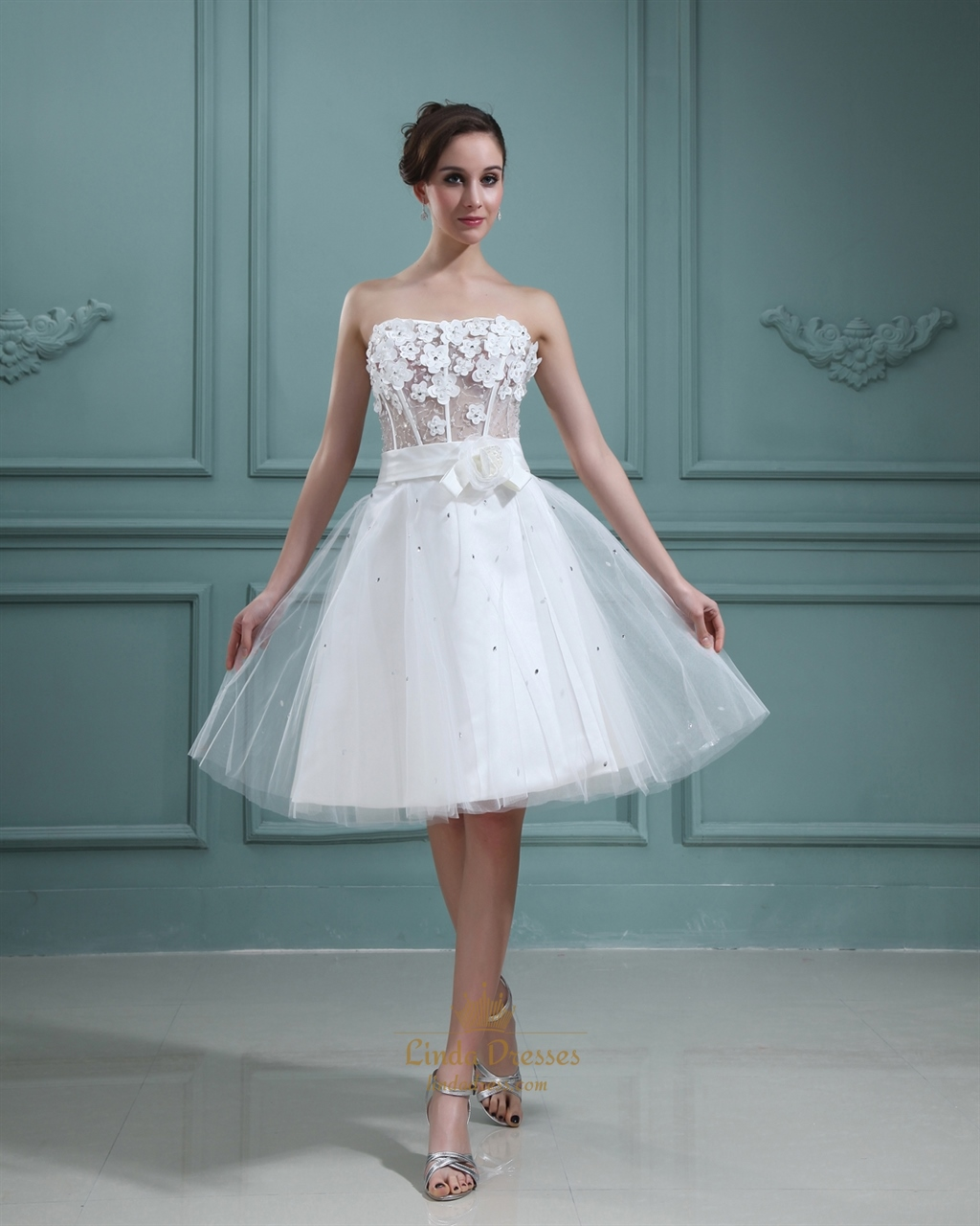 Ivory Strapless Knee-Length Wedding Dress With Petal Detailed Bodice ...