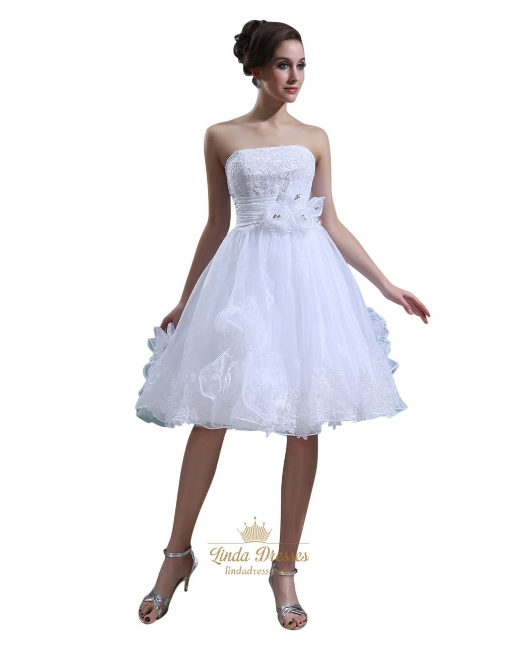White applique knee length wedding dress with floral for Wedding dress with applique