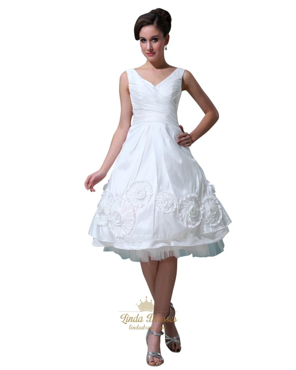 White V Neck Tea Length Taffeta Wedding Dresses With Rosettes On Bottom