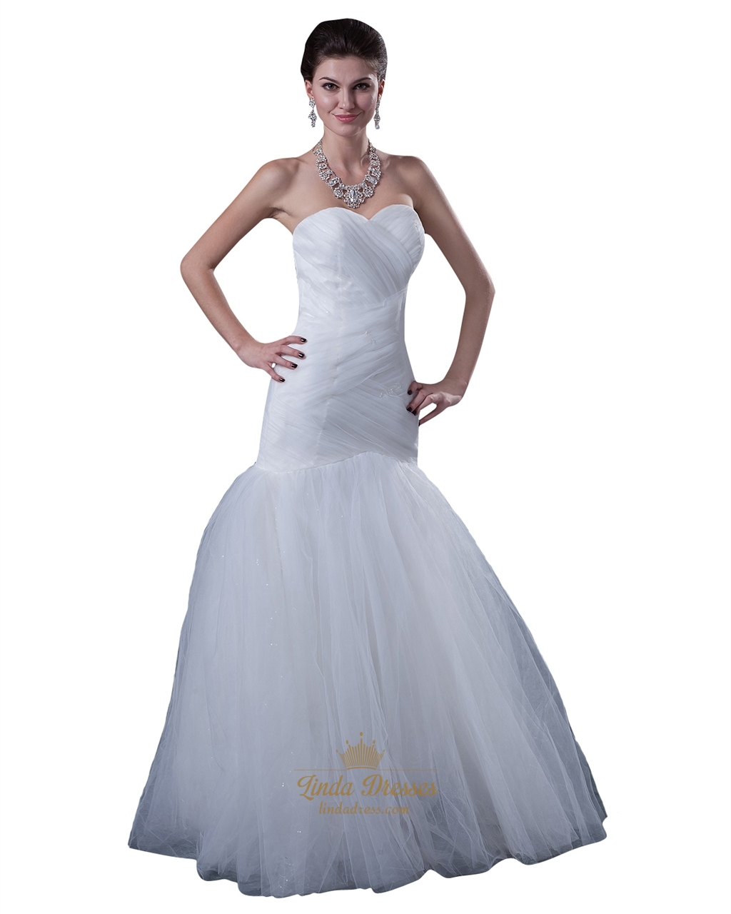Wedding Gown Wraps: Ivory Tulle Sweetheart Strapless Mermaid Wedding Dress
