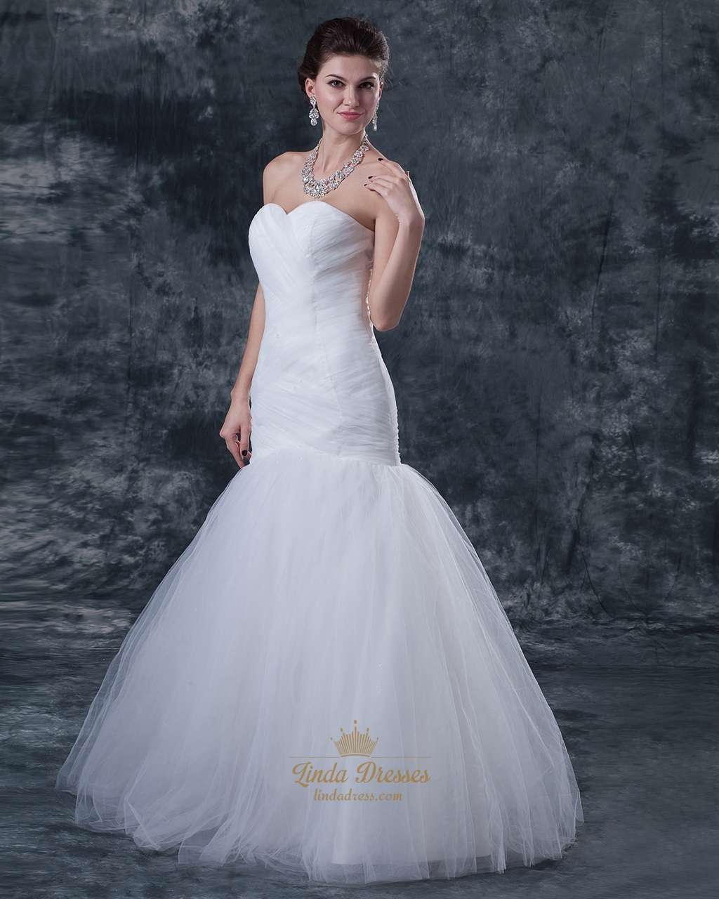 Ivory Tulle Sweetheart Strapless Mermaid Wedding Dress