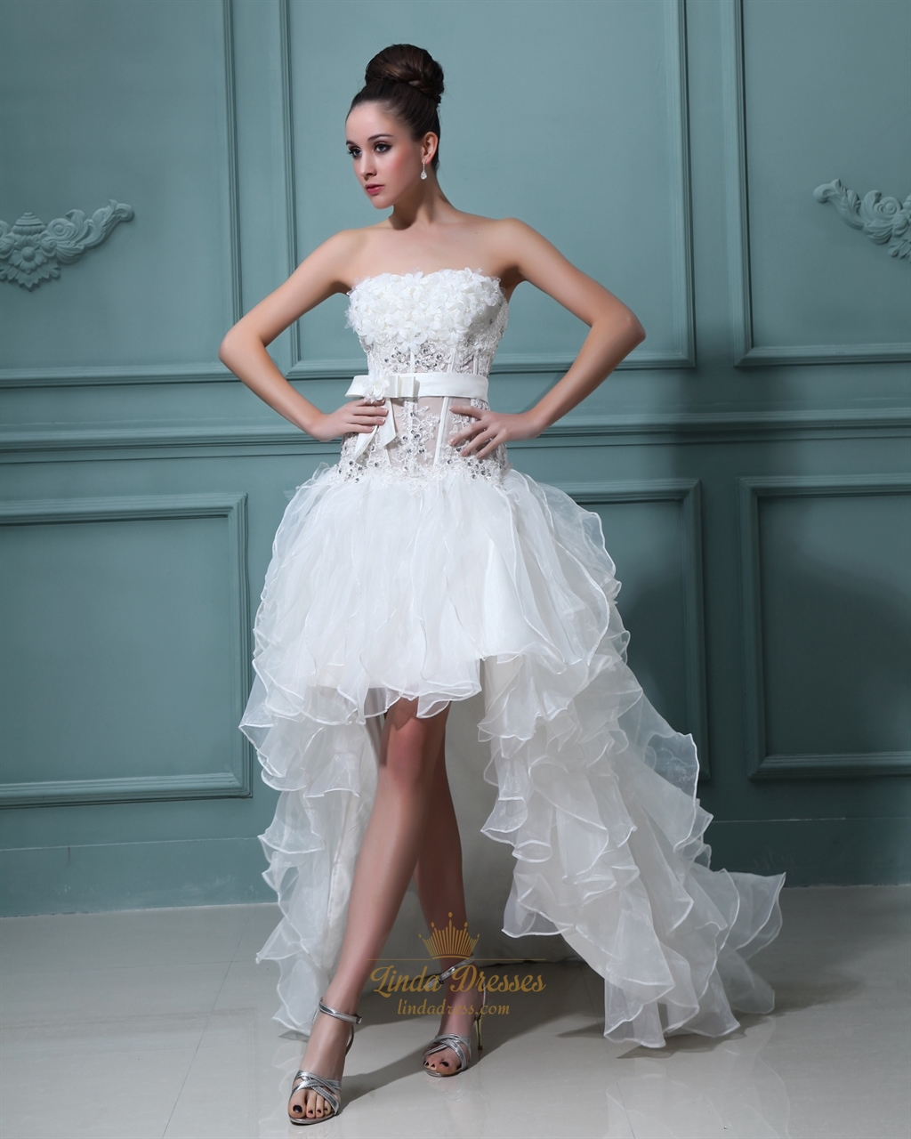 Wedding Dress Short In Front With Long Train | Linda Dress