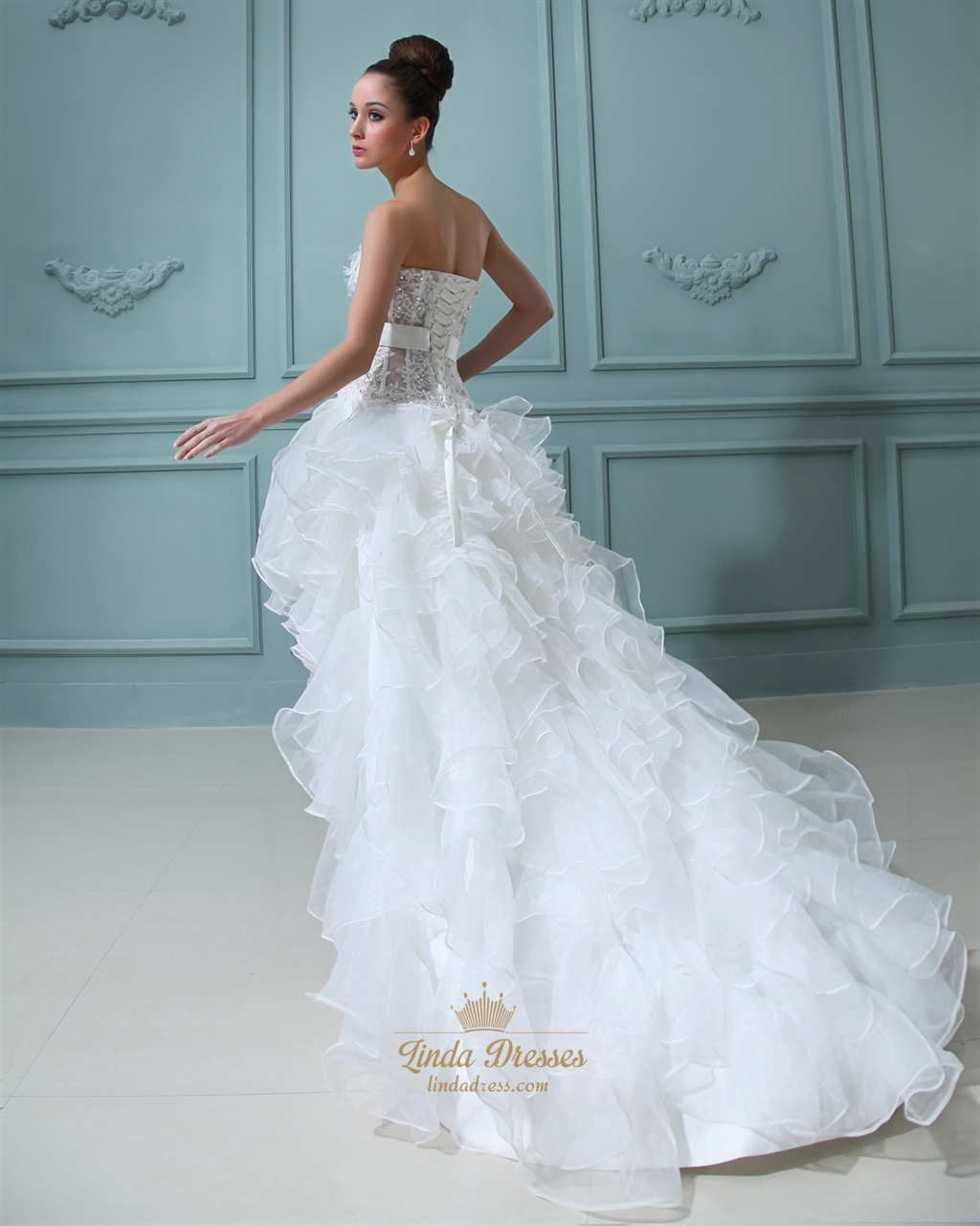 Ivory Strapless High Low Wedding Dress With Floral Embellishments ...