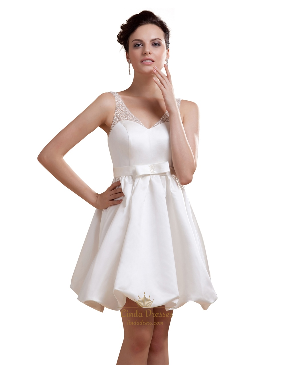 Ivory Short Bubble Hem V Neck Satin Wedding Dress With
