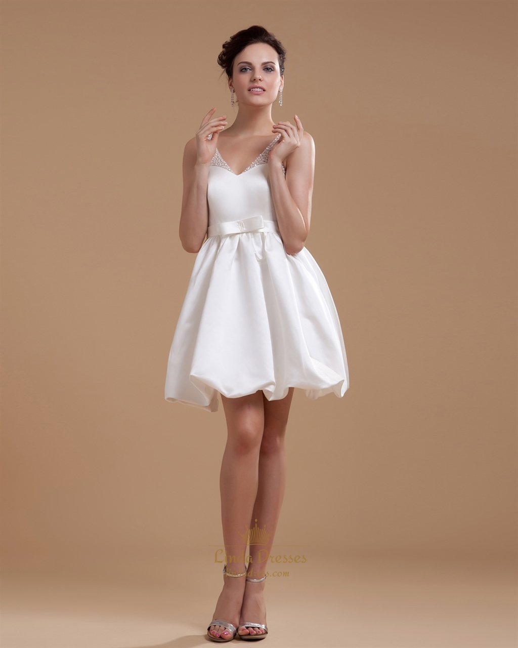 Ivory short bubble hem v neck satin wedding dress with for V neck satin wedding dress