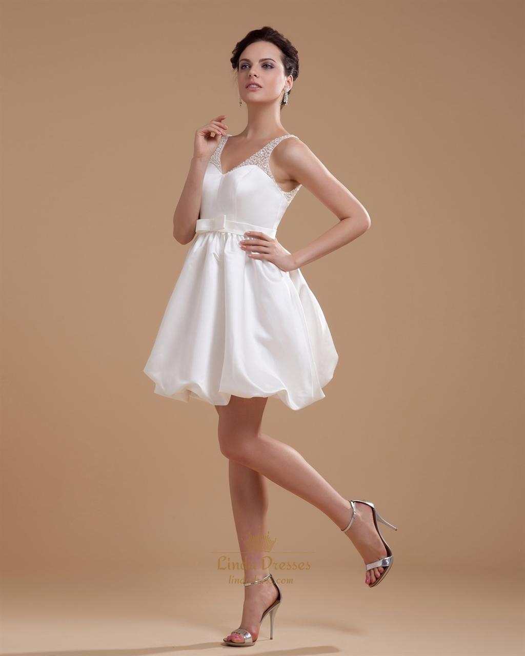 Ivory short bubble hem v neck satin wedding dress with for Ivory satin wedding dress