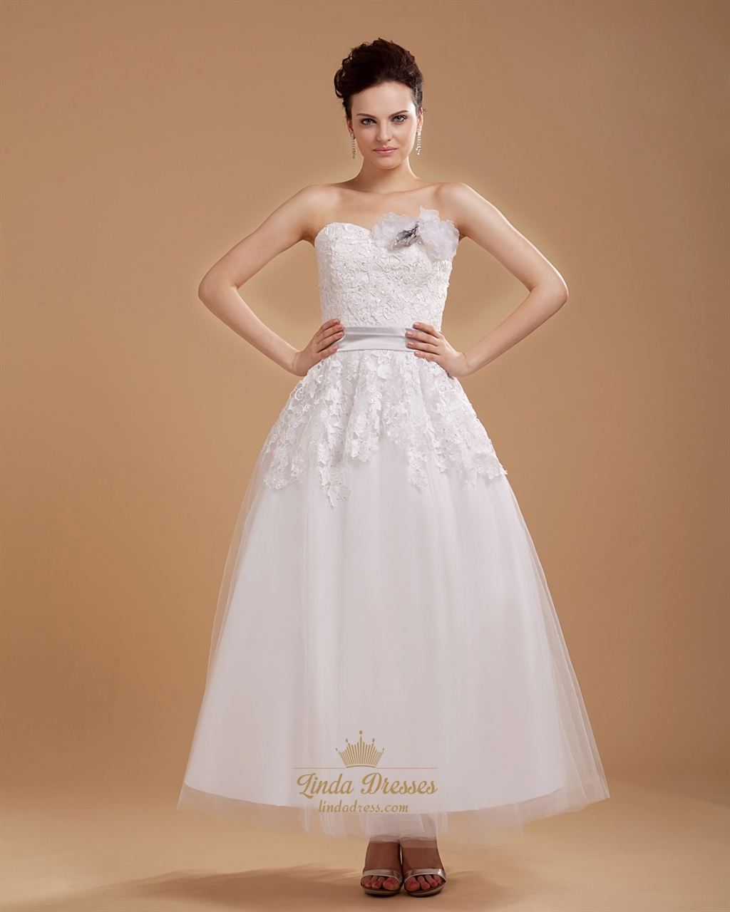 Ivory ankle length lace top tulle wedding dress with 3d for Lace ankle length wedding dress