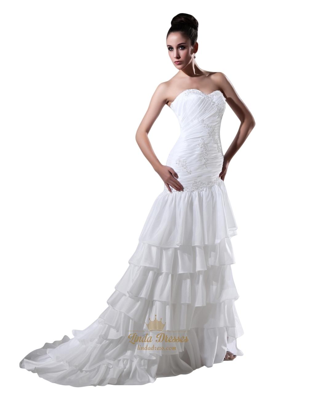 White Taffeta Layered Skirt Mermaid Wedding Dress With Lace Liques