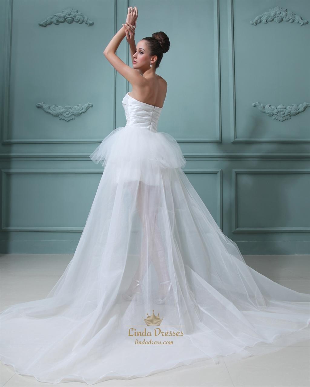 Ivory strapless organza wedding dress short in front long for Ivory short wedding dress