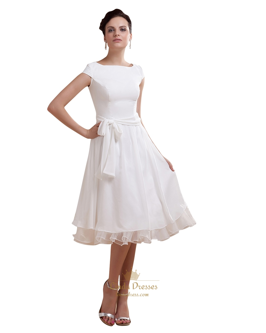 Simple Elegant Tea Length Chiffon Cap Sleeve Wedding Dresses With ...