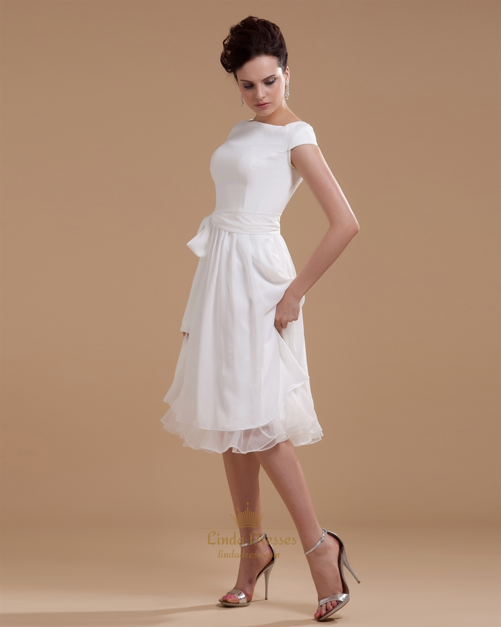 Simple elegant tea length chiffon cap sleeve wedding for Simple elegant short wedding dresses