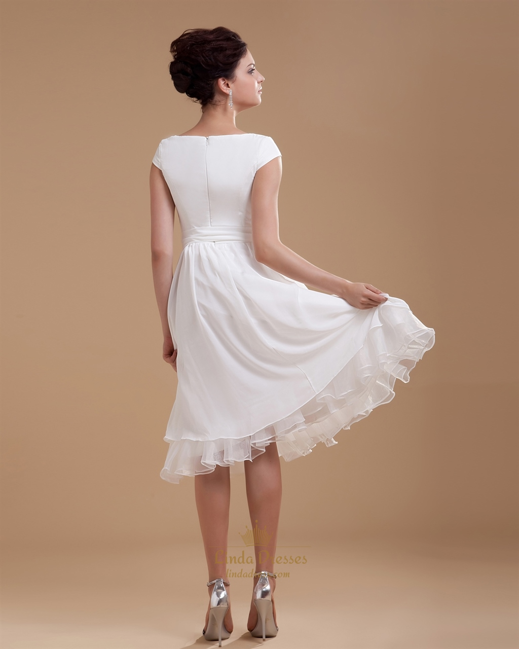 Simple elegant tea length chiffon cap sleeve wedding for Wedding dresses tea length with sleeves