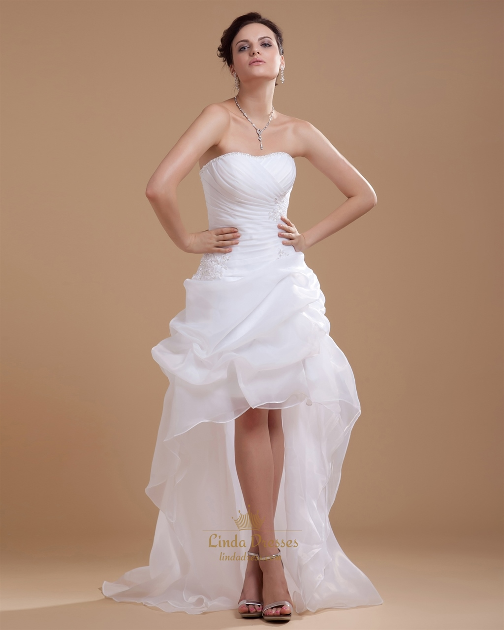 White strapless sheath high low wedding dress with pick up for Wedding dress high low