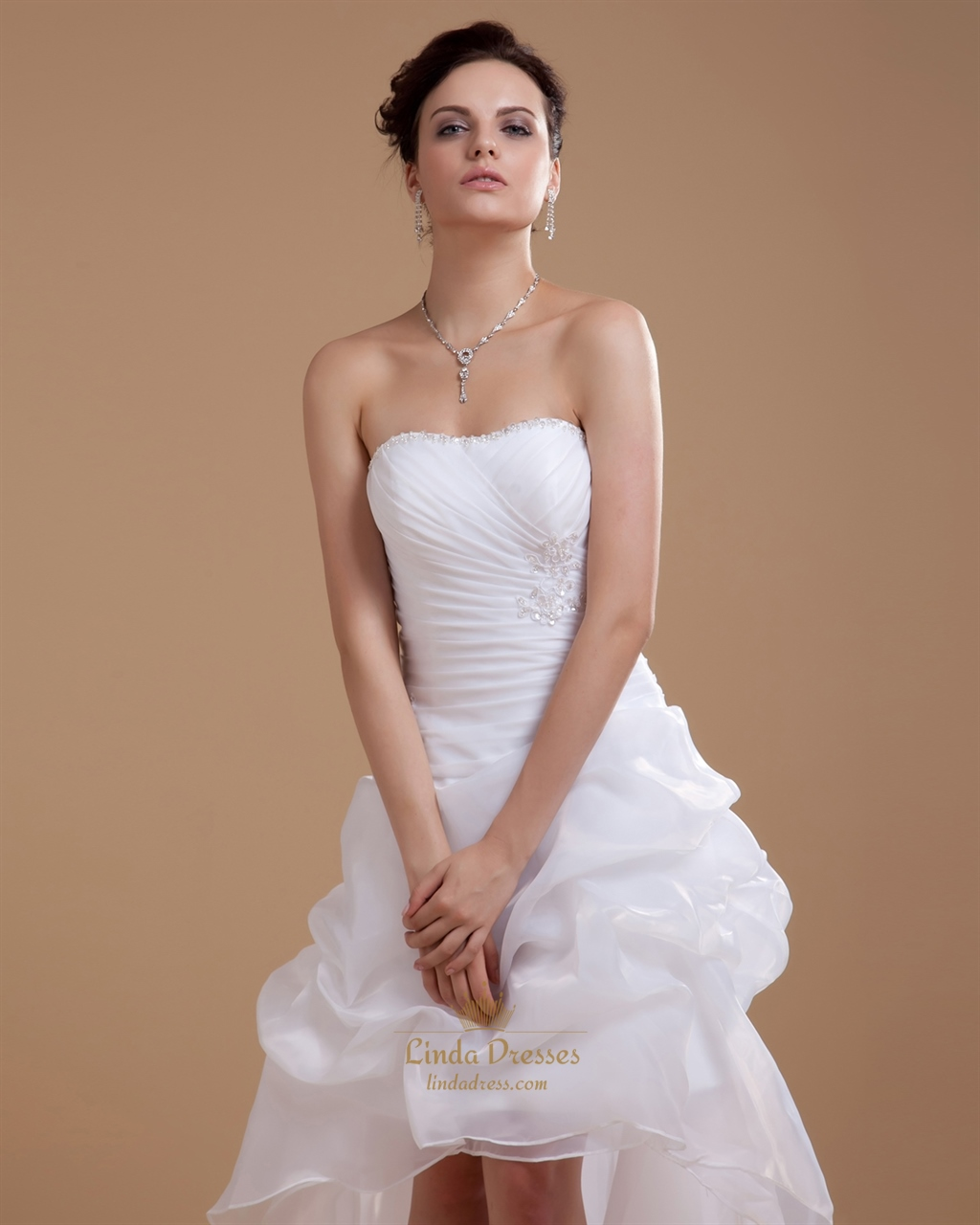 White strapless sheath high low wedding dress with pick up for Pick up skirt wedding dresses