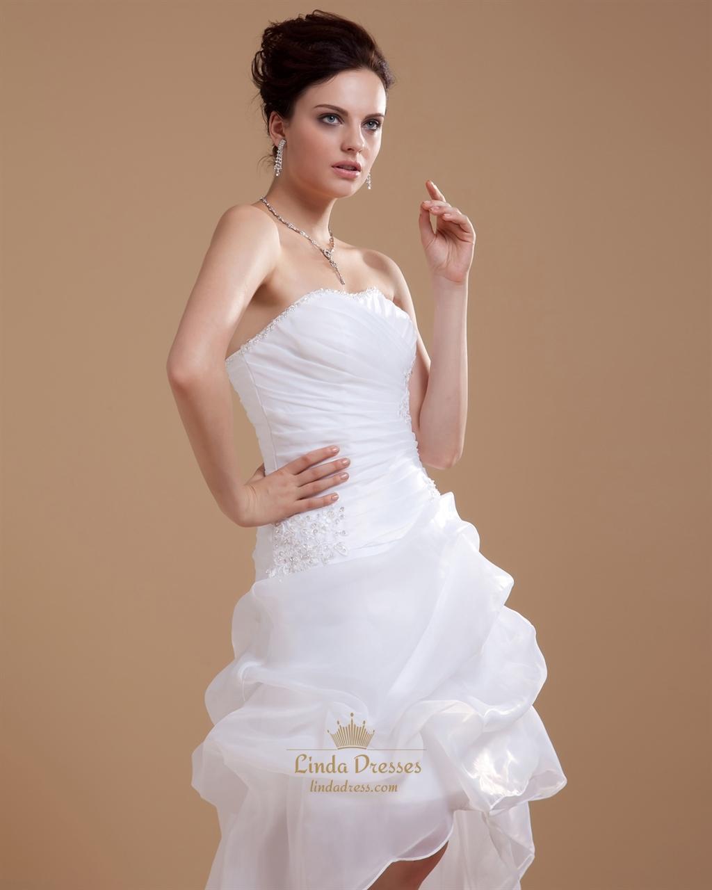 White strapless sheath high low wedding dress with pick up for White high low wedding dress