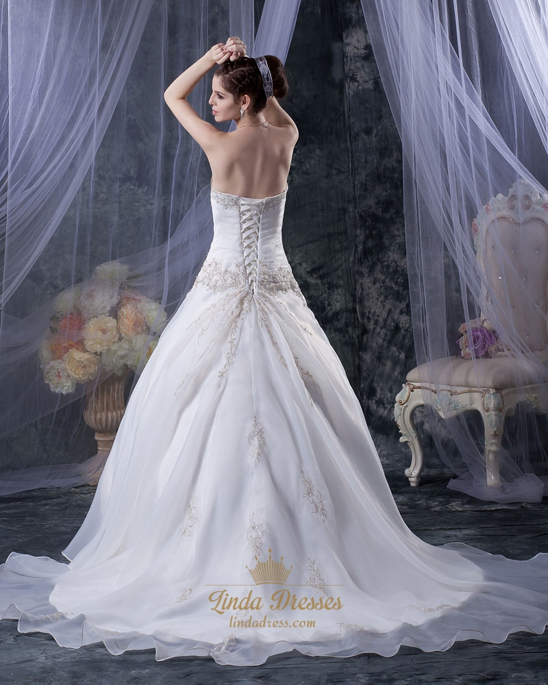 Ivory Embroidered Wedding Dress Strapless With Gold Leaf