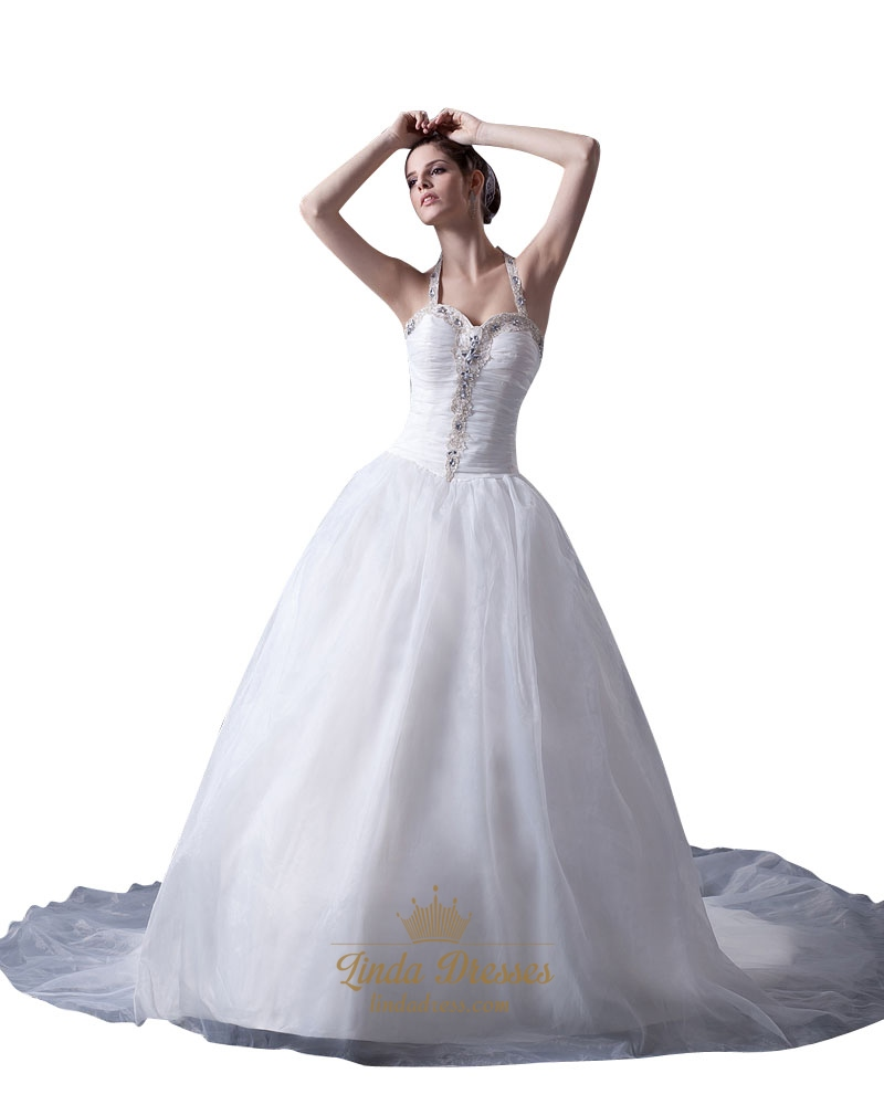 ivory halter sweetheart neckline organza wedding dress