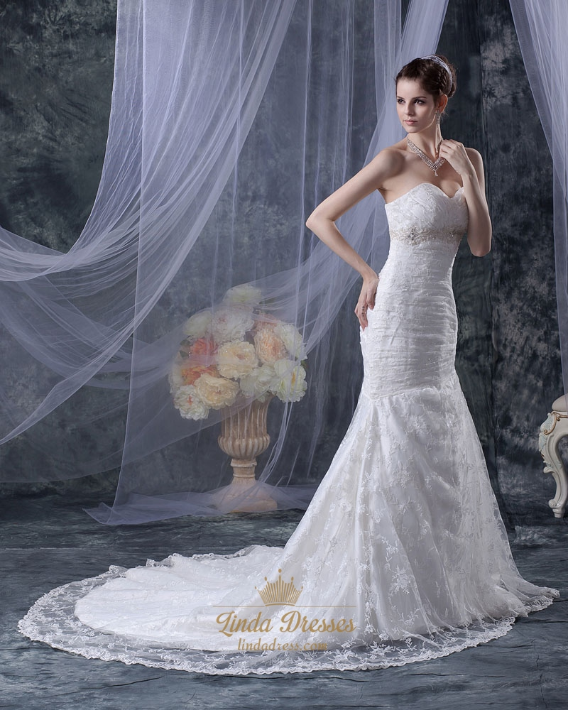 Ivory lace empire sweetheart mermaid wedding dress with for Lace wedding dress belt
