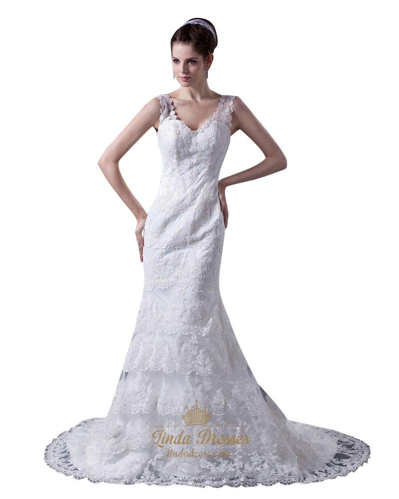 Romantic vintage ivory lace v neck chapel train mermaid for Mermaid v neck wedding dress