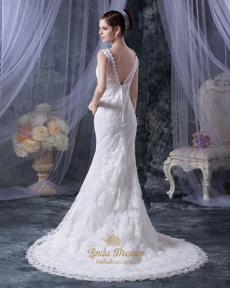 Romantic Antique Wedding: Romantic Vintage Ivory Lace V-Neck Chapel Train Mermaid