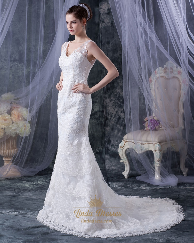 Romantic vintage ivory lace v neck chapel train mermaid for Romantic vintage lace wedding dresses