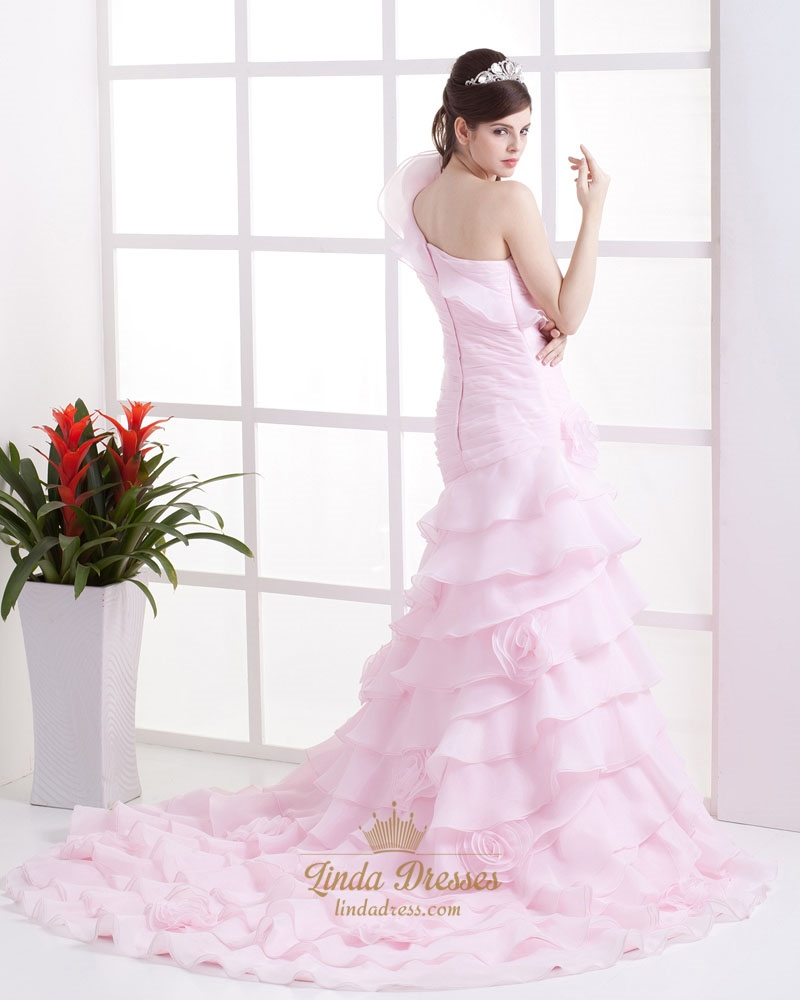 Pink One Shoulder Layered Mermaid Wedding Dress With Flowers On