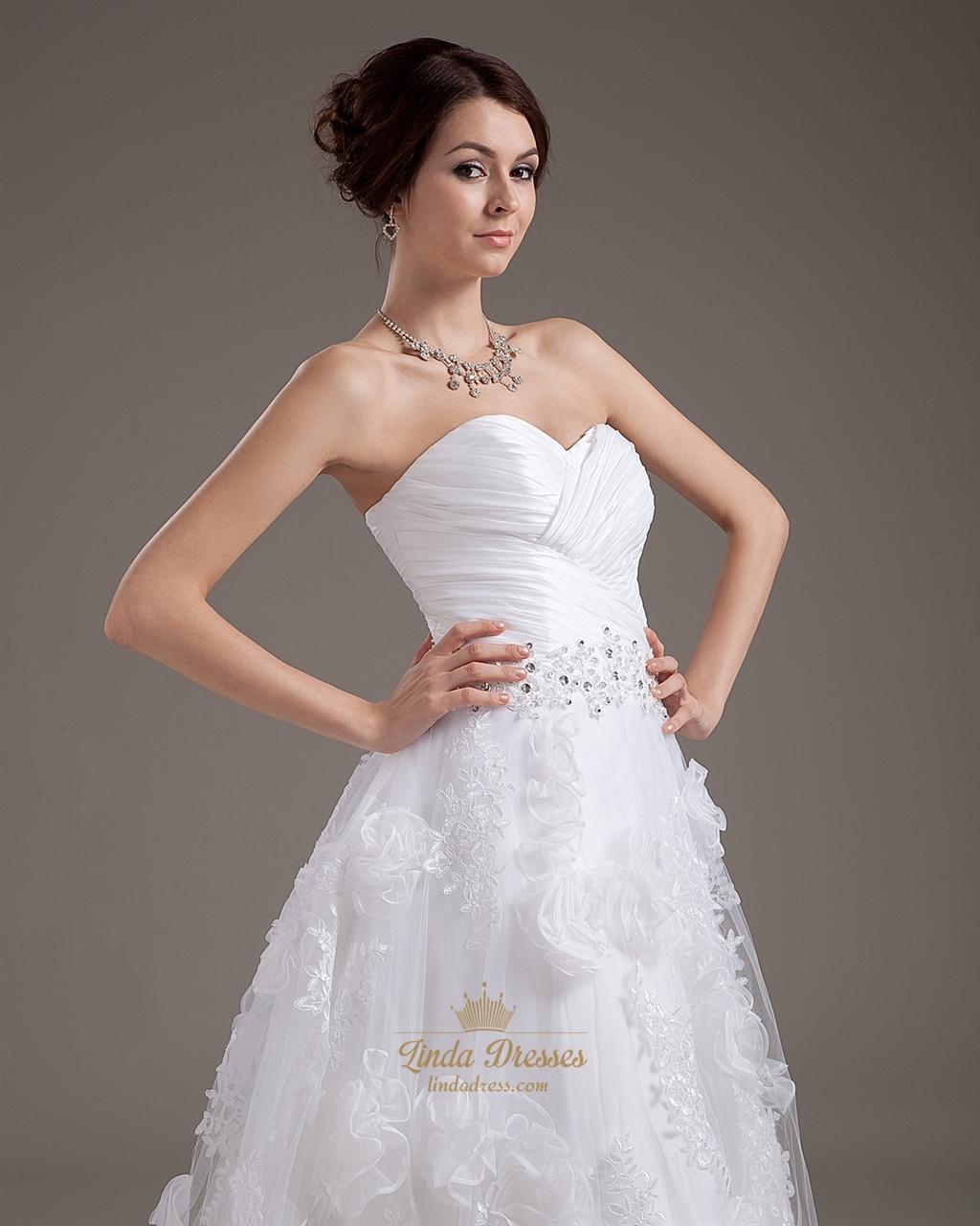 White strapless ankle length wedding dress with floral for White strapless wedding dresses
