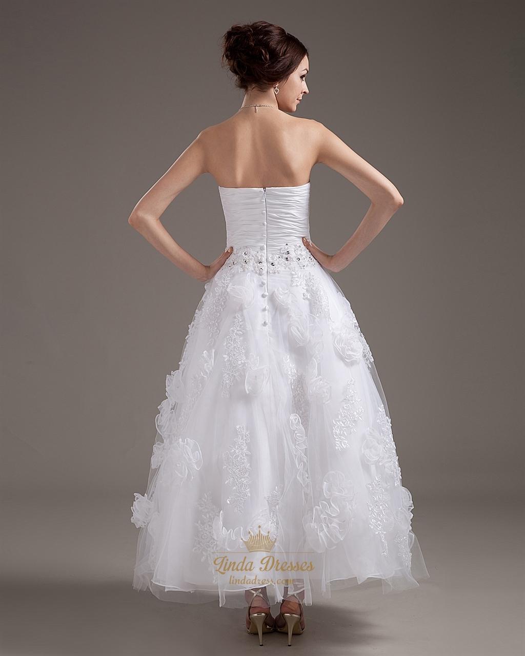 White strapless ankle length wedding dress with floral for Wedding dresses ankle length