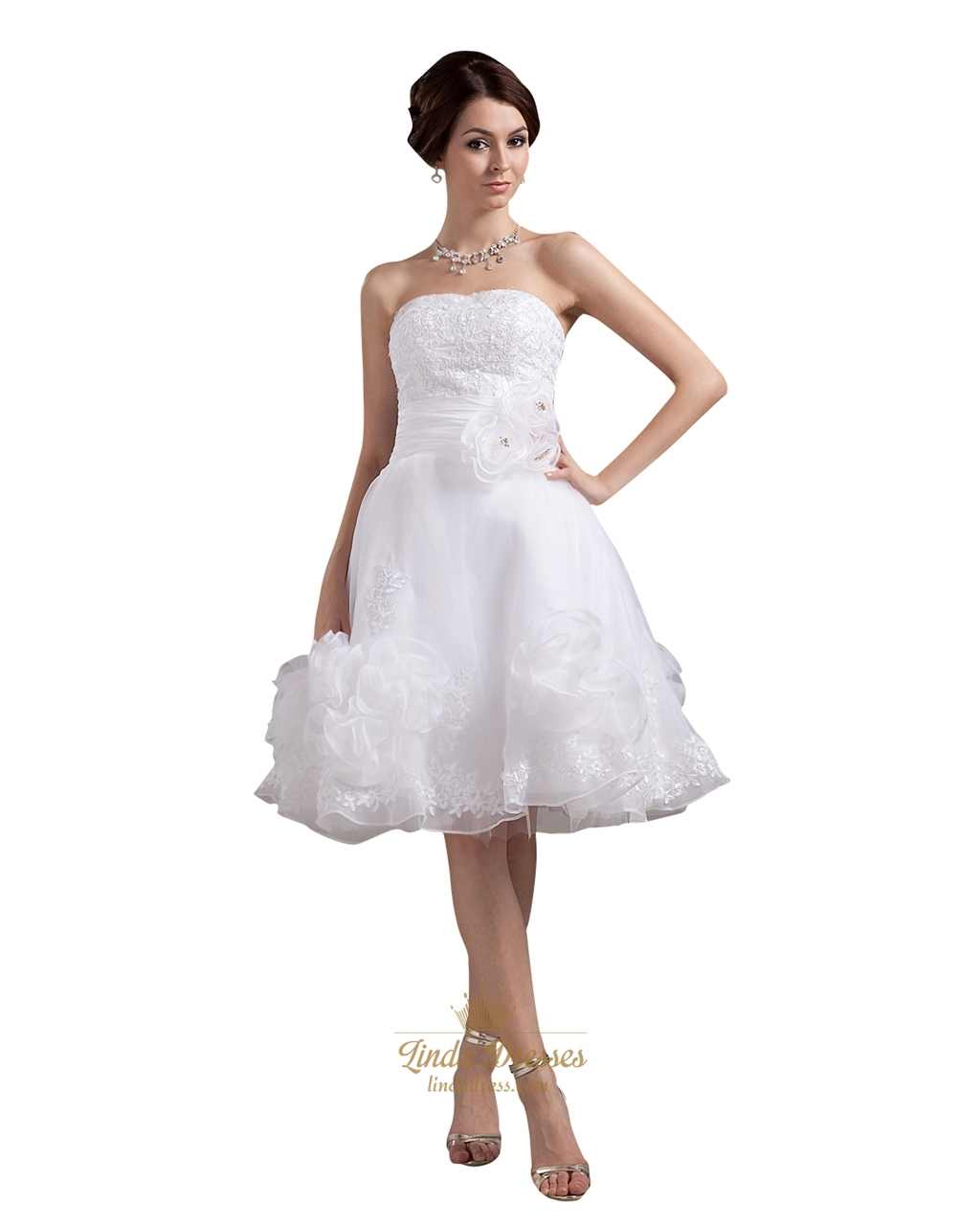 White Strapless Knee Length Organza Wedding Dress With