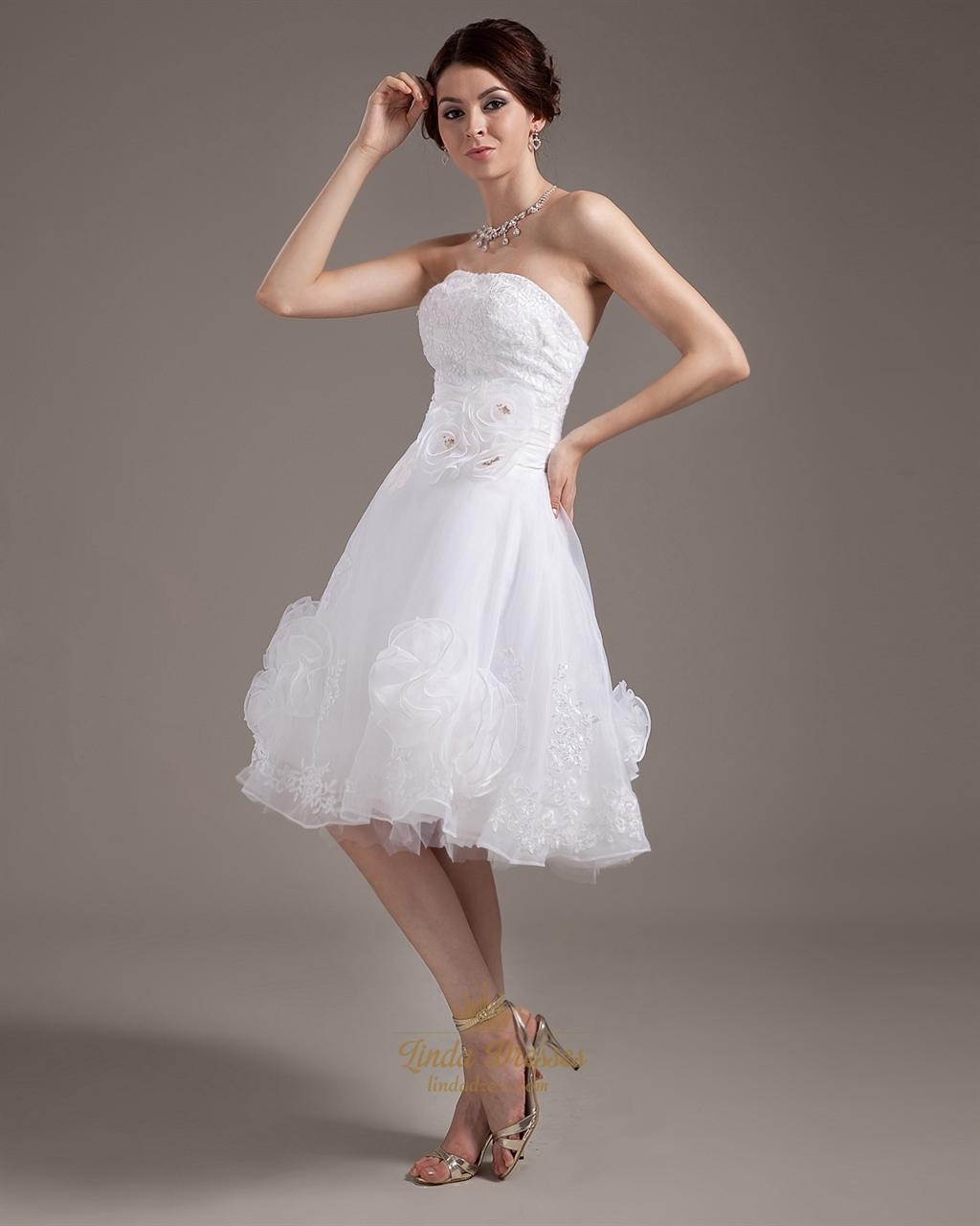 White strapless knee length organza wedding dress with for White strapless wedding dresses