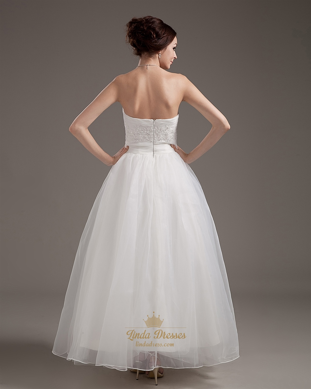 Ivory strapless ankle length wedding dresses with lace for Lace ankle length wedding dress