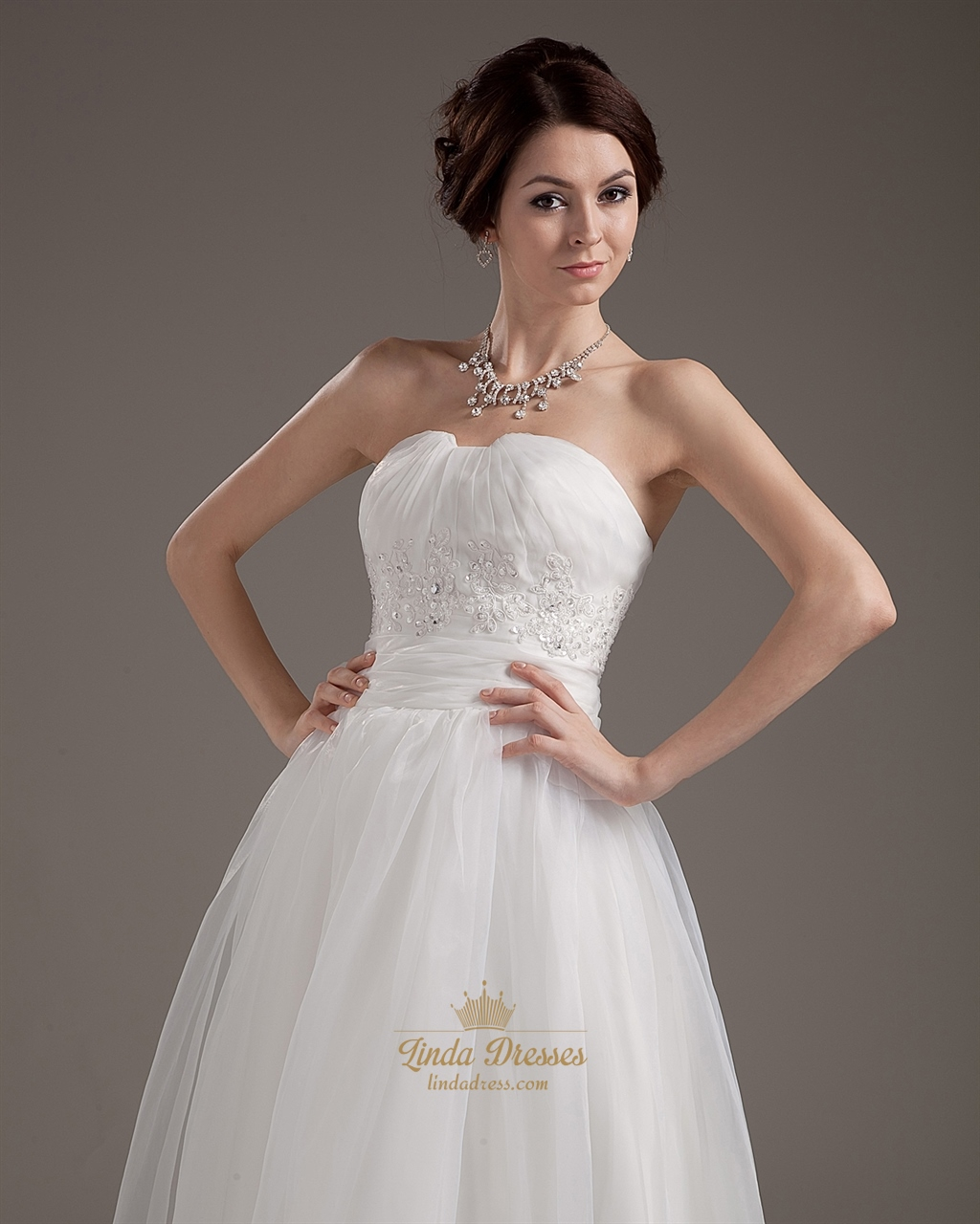 Ivory Strapless Ankle Length Wedding Dresses With Lace