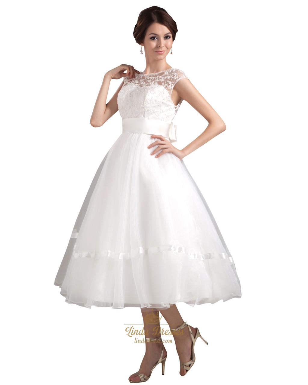 Ivory illusion neckline tea length wedding dress with cap for Ivory tea length wedding dress