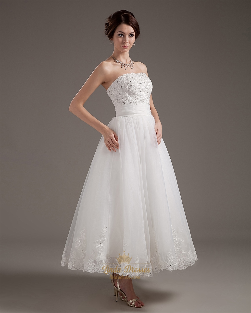Ivory organza strapless ankle length wedding dress with for Wedding dress with applique