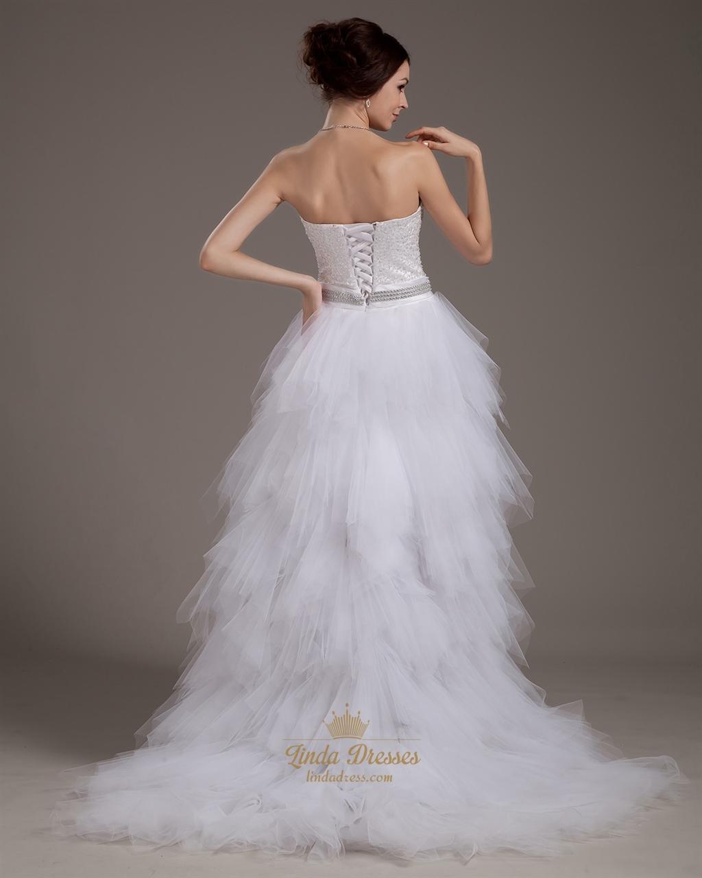 White strapless tulle ruffle skirt wedding dress with for Strapless wedding dress with ruffles