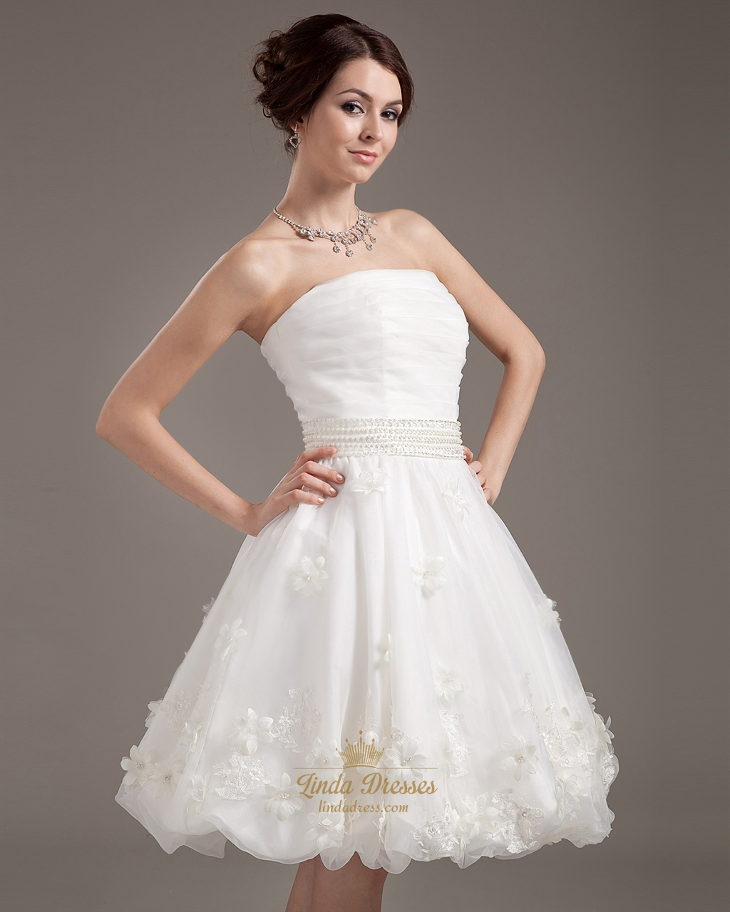 Ivory Strapless Beaded Waist Organza Wedding Dresses With