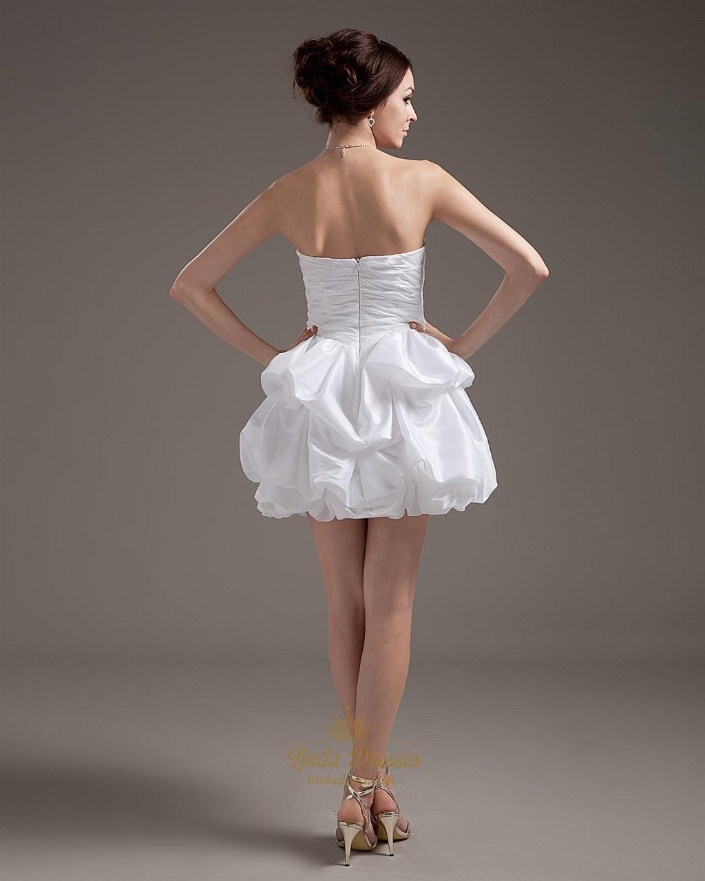 White Taffeta Strapless Bubble Hem Short Wedding Dresses