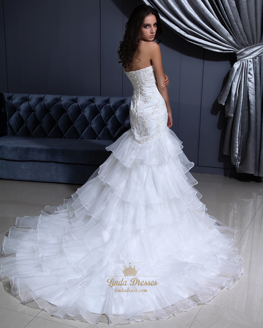 Ivory Sweetheart Mermaid Organza Wedding Dresses With Gold